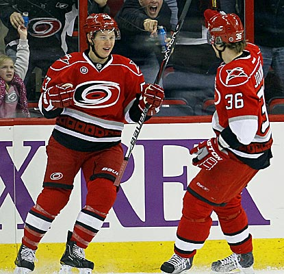 Jeff Skinner celebrates his first-period goal to help Carolina beat Winnipeg for the first time this year.  (AP)