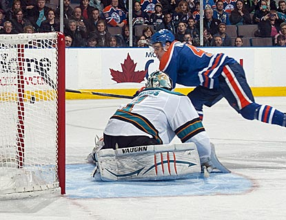 Taylor Hall scores the game-winning goal in a shootout, helping the Oilers to snap their three-game skid.   (Getty Images)