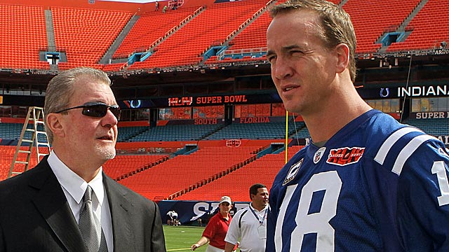 Irsay and Manning during better times at Super Bowl Media Day in Feb. 2010. (Getty Images)
