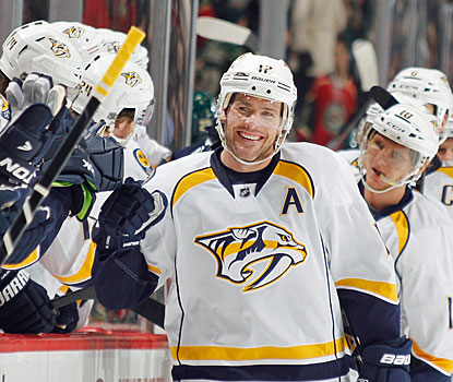Mike Fisher has good reason to smile, after scoring two of Nashville's three goals in the last 3 1/2 minutes. (Getty Images)