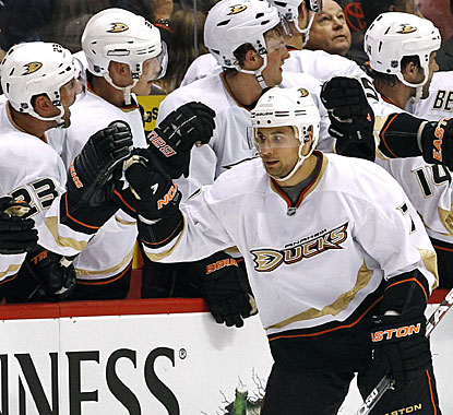 The Anaheim bench appreciates the third goal in a row scored by Andrew Cogliano in the second period. (AP)