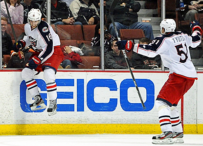 The Blue Jackets' Derick Brassard (left) celebrates his winning goal in overtime with Fedor Tyutin. (Getty Images)