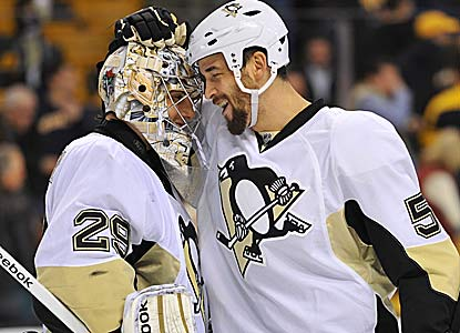 Marc-Andre Fleury gets praise from Deryk Engelland after beating the Bruins, who hadn't lost consecutive games since Dec. (Getty Images)