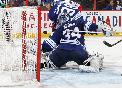 James Reimer posts his second straight shutout, sending back a whopping 49 shots in a rout. (AP)