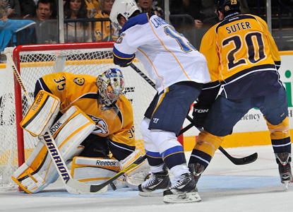 Pekka Rinne saves 42 shots to help the Preds beat the Blues.  Nashville has won six of their last seven games. (Getty Images)