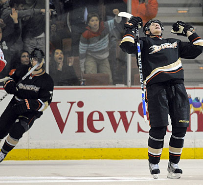 Corey Perry celebrates his overtime goal, which gives Anaheim its eighth win in the last 11 games. (AP)