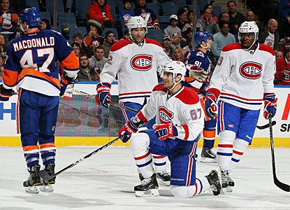 Max Pacioretty (67) enjoys his second goal. Little did he know that a hat trick was to come with one second to play. (Getty Images)