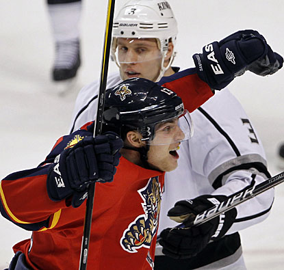 Mike Santorelli does his part with a goal to help the Panthers beat the Kings for the first time in eight games. (AP)