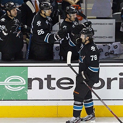 Benn Ferriero's tiebreaking goal is only his second goal in the last 12 games for the Sharks. (US Presswire)