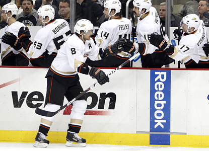 41-year-old Teemu Selanne celebrates his winning goal, the 656th of his career -- good enough for 12th all time. (Getty Images)