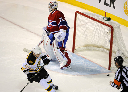 Boston's Tyler Seguin scores the game-winner for the Bruins in a shootout win over the Canadiens. (Getty Images)