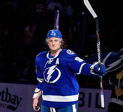 Steven Stamkos gets the first star of the game after two goals, two assists in his 300th career game. (Getty Images)