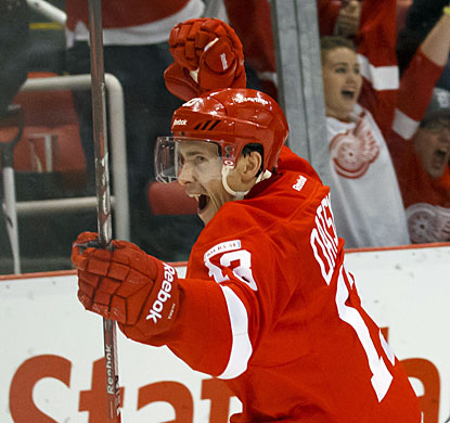 Pavel Datsyuk shows his emotion after scoring the winning goal for Detroit with just five seconds left in regulation. (US Presswire)