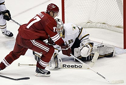 Radim Vrbata scores his 10th game-winning goal of the season to give the Coyotes a big OT victory.  (AP)