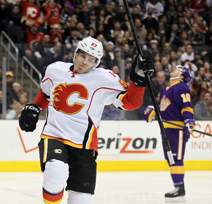 Michael Cammalleri burns his former team for the deciding goal early in the third period for the Flames.  (Getty Images)