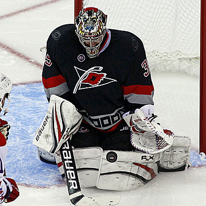 The Hurricanes' Justin Peters records 17 saves to earn his first-career shutout in the NHL.  (AP)