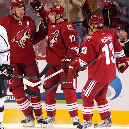 Radim Vrbata (17) scores late in regulation to tie the game, helping the Coyotes fight back from a three-goal deficit. (Getty Images)