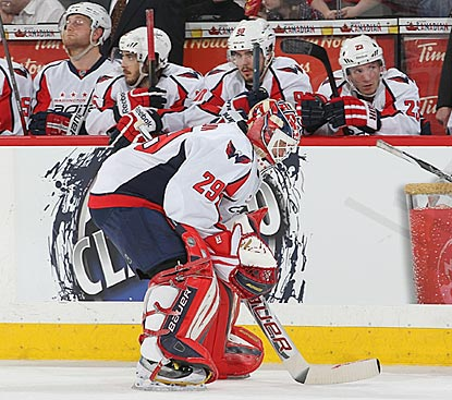 Washington's Tomas Vokoun trudges off the ice in the second period after allowing Ottawa's fourth goal.  (Getty Images)