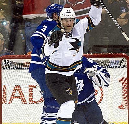 Patrick Marleau, who accounts for all of the Sharks' scoring, reacts after one of his two goals against the Leafs.  (AP)