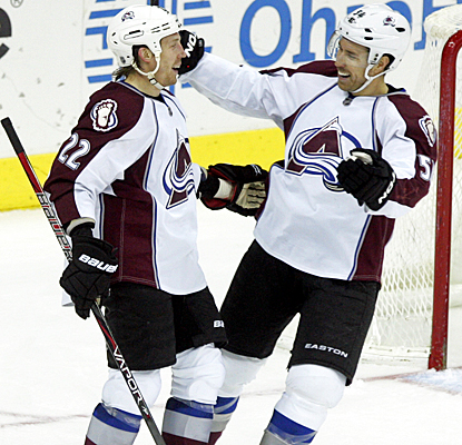 The Avalanche's Matt Hunwick (left) celebrates his third-period goal with David Jones. (AP)