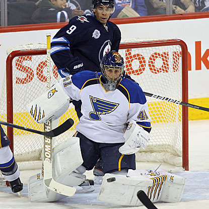 Jaroslav Halak tallies 39 saves while allowing two goals in regulation in the Blues' victory.  (US Presswire)
