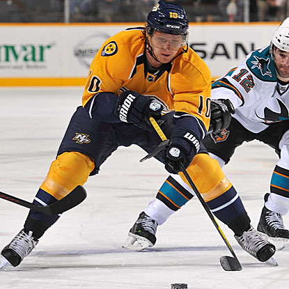 Martin Erat is one of five Predators to score in their lopsided win over the Sharks.  (Getty Images)
