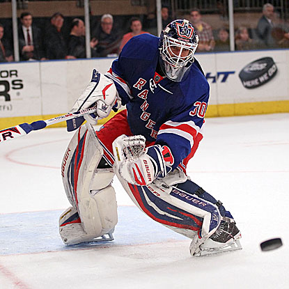 Henrik Lundqvist records 13 saves to earn his league-high eighth shutout in the Rangers'  win against the Devils. (Getty Images)