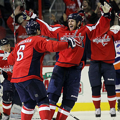 Troy Brouwer scores two goals in the final minutes of regulation to set up the Capitals' win in overtime. (Getty Images)