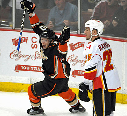 Corey Perry celebrates the winning goal scored by Ryan Getzlaf (not pictured) in the last minute. (US Presswire)