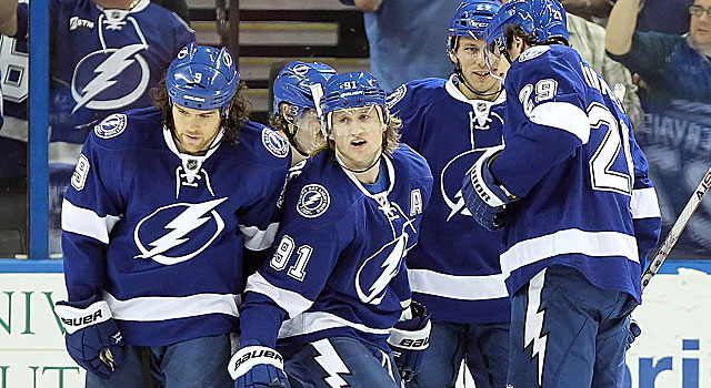 Steven Stamkos (91) and the Lightning have an outside shot at the Southeast Division title. (US Presswire)