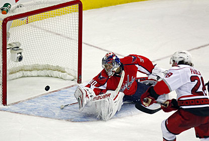 Justin Faulk's winner late in overtime gives the Hurricanes just the eighth road win this season. (US Presswire)