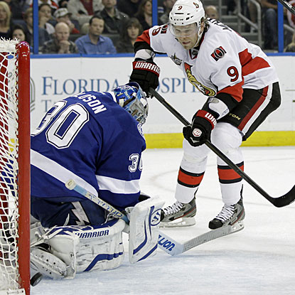 Milan Michalek earns an unusual natural hat trick when he gets the last two goals as empty netters. (AP)