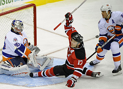 llya Kovalchuk scores three goals in a game for the second time in three weeks and leads New Jersey with 29 goals. (AP)