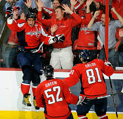 Alexander Ovechkin celebrates his winner with 51 seconds to go in overtime just like in his heyday. (Getty Images)