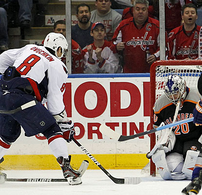 Alexander Ovechkin scores his second goal of the game to tie it at 4. Ovechkin has 29 goals this season. (AP)