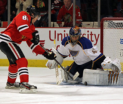 Patrick Kane beats Jaroslav Halak for the winning goal, the only one in the shootout. (Getty Images)
