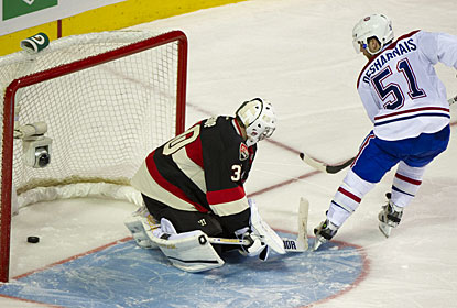 David Desharnais scores the only goal in the shootout after also scoring for Montreal in regulation. (AP)