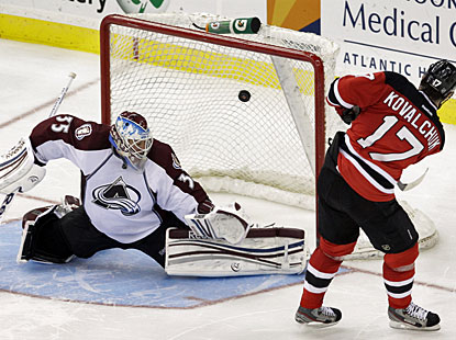 Ilya Kovalchuk, who leads the NHL in shootout goals, scores his 10th of 12 attempts this season. (AP)