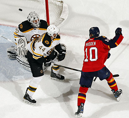 John Madden, one of six different scorers for Florida, gets his first goal of the season. (Getty Images)