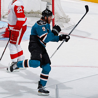 The Sharks' Martin Havlat scores two goals, including the winner in overtime to beat the Red Wings.  (Getty Images)
