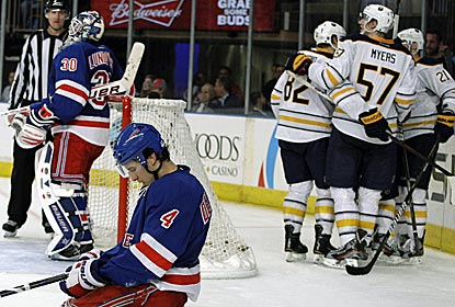 It's a tough night for the Rangers as the Sabres keep their playoff hopes alive with a win.  (AP)