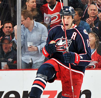 The Blue Jackets' R.J. Umberger scores three goals to notch the third hat trick of his career.  (Getty Images)