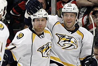 The Predators match their season high with six goals to move into fourth place in the West.  (AP)