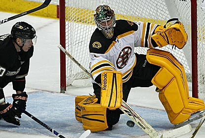 After relieving Tim Thomas, Bruins goalie Marty Turco records his first NHL win in over a year.  (AP)