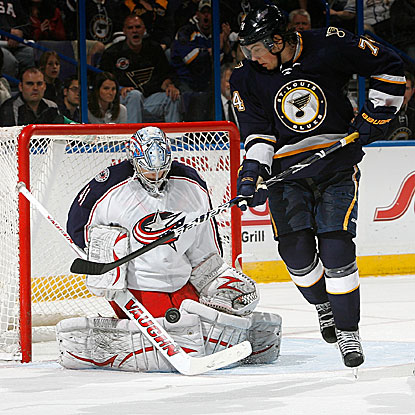 The Blue Jackets' rookie goalie Allen York earns his third win in three career starts, beating the Blues.  (Getty Images)