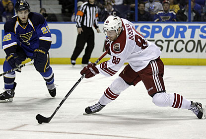 Mikkel Boedker caps the scoring for the Coyotes with this goal in the middle of the third period. (AP)