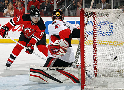 Petr Sykora directs the puck past Craig Anderson to finish the regular season with 21 goals. (Getty Images)