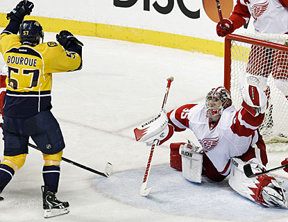 Gabriel Bourque has a perfect playoff debut as he scores two goals in Nashville's victory. (AP)