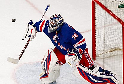 Until giving up two late goals with the game already in hand, Rangers goalie Henrik Lundqvist is a wall.  (US Presswire)