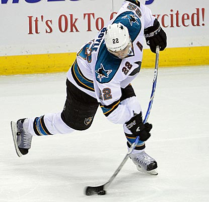 Sharks defenseman Dan Boyle takes a shot during the third period of San Jose's overtime victory.  (US Presswire)